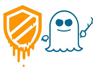 logo meltdown and spectre orange dripping shield blue ghost