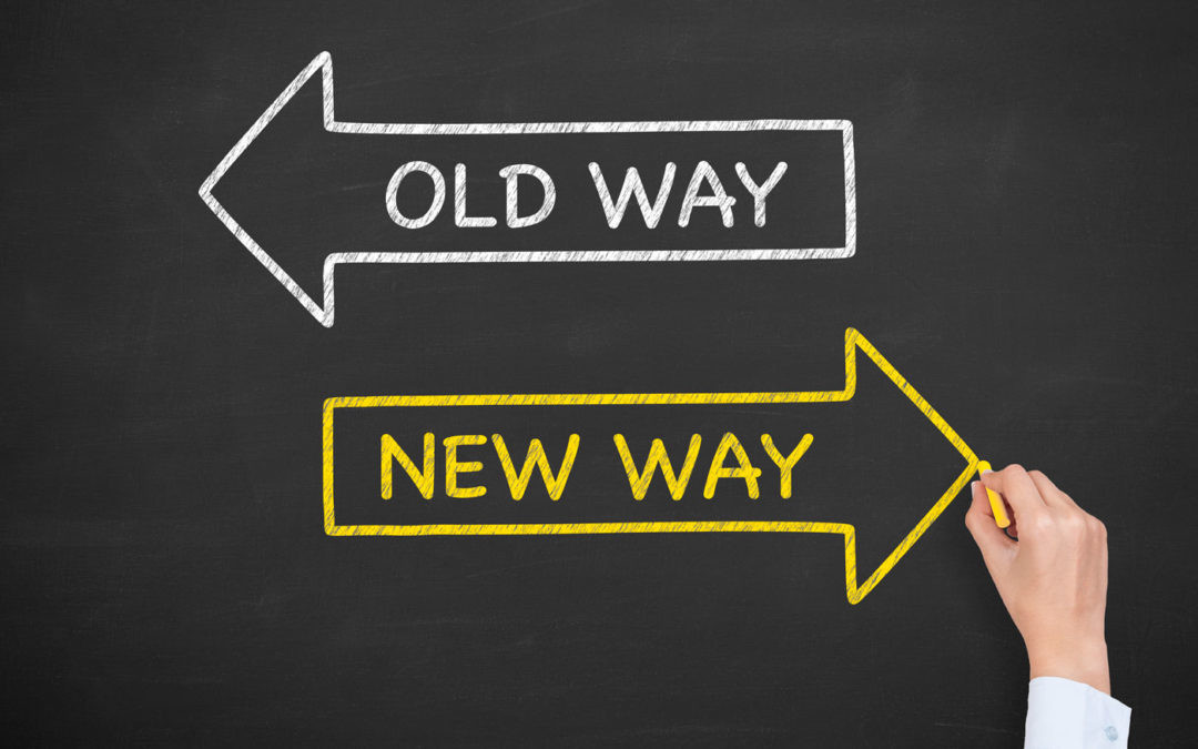 arrows pointing to old way and new way for accounting industry