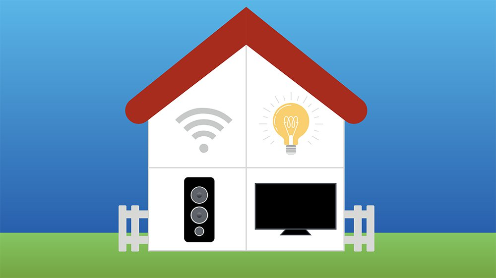 house with wifi connected smart devices on every level